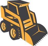 skid steer digger truck - stock illustration