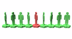 Row of stylized white people stand on gears - stock footage