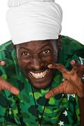 Scary Rastafarian - stock photo
