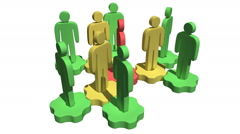 Group of stylized people stand on gears Stock Footage