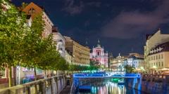 Ljubljana - Evening on Ljubljanica river Stock Footage