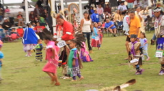 Tiny tots dance at pow wow Stock Footage