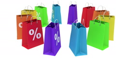 Colorful shopping paper bags animation. Stock Footage
