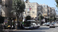 Establishing shot of Rabbi Akiva street in Bnei Brak, Israel Stock Footage