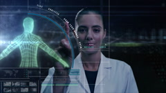Caucasian American medical motion graphics touchscreen DNA technology laboratory - stock footage