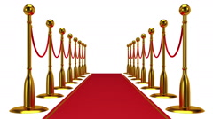 Animation of golden rope barrier with red carpet. Stock Footage