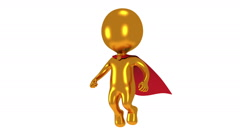 Gold superhero with red cloak fly above. - stock footage