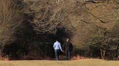 Couple Walking, Holding Hands - Beautiful Dartmoor Landscape HD 02 Stock Footage