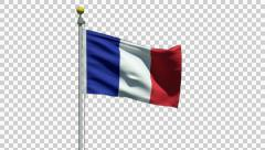 Waving flag of France with alpha channel - stock footage