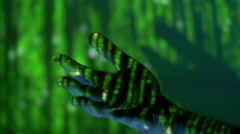 The hand with matrix green code projector light on it. Close up view Stock Footage