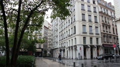 Lyon empty street rue de la Charite in a rainy and cloudy  day Stock Footage