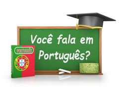 Chalk board on which is written - Do you speak Portuguese? Stock Illustration