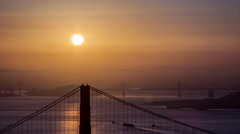 HD Sunrise On The Golden Gate Bridge And San Francisco Timelapse Stock Footage