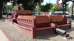 Model of the castle of the Teutonic Order in Malbork, Poland Stock Footage