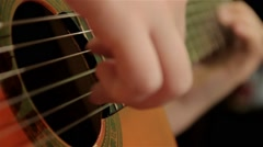 Finger Style Playing Guitar, Right Hand Is In Focus, Close Up Stock Footage