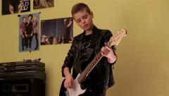 A Teenage Boy Playing Electrical Guitar In His Room Solo Stock Footage