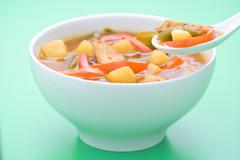Chinese chicken soup chicken and vegetables - stock photo