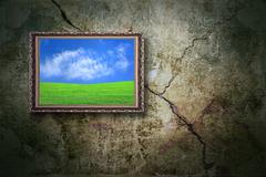 color landscape on the old wall - stock photo