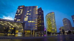 Evening view of Potsdamer Platz - financial district of Berlin, Germany Stock Footage