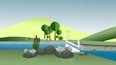 Motion graphics infographics energy hydro station clean electricity reservoir Stock Footage