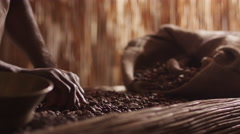 African Worker Is Sorting Coffee Bean Stock Footage