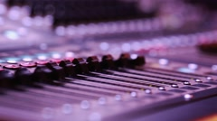Digital Audio Console Fader by stage during performa - stock footage