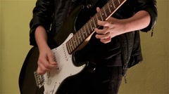 Young Musician Playing The Electrical Guitar In The Studio Solo Stock Footage