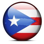 Map on flag button of Freely Associated State  Puerto Rico Stock Illustration