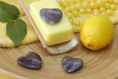 Lemon soap Stock Photos