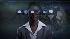 African American business female worldwide trade technology touch screen finance - stock footage