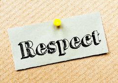 Recycled paper note pinned on cork board. Respect Message. Concept Image Stock Photos