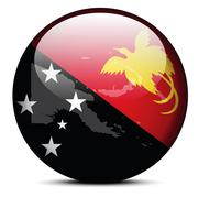 Map on flag button of Independent State Papua New Guinea - stock illustration