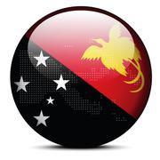 Map with Dot Pattern on flag button of Independent State Papua New Guinea Stock Illustration