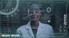 Caucasian American scientist female medical touchscreen technology human body Stock Footage