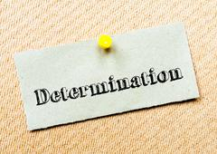 Recycled paper note pinned on cork board. Determination Message. Concept Imag Stock Photos