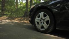 Closeup on Front Wheel Braking - stock footage