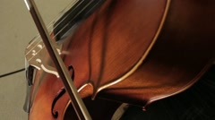 Close Up View Of Bow On The Strings Playing Violoncello Cello Stock Footage
