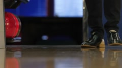 Special leather boots for bowling on feet. Slow motion Stock Footage