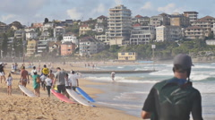 Surf families on the beach Stock Footage