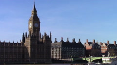 Elizabeth Tower on the Thames Stock Footage