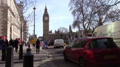 Elizabeth Tower (Big Ben) and Traffic Stock Footage