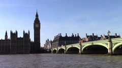 Elizabeth Tower, Westminster Bridge, and the Thames Stock Footage