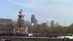 Looking toward the Financial District of London Stock Footage