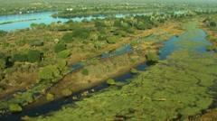 Aerial of Zambezi River Stock Footage