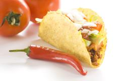 Delicious taco, mexican food Stock Photos