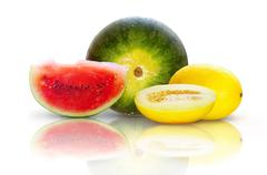 Beautiful isolated watermelon and yellow melon on white background Stock Photos