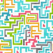 abstract colored geometric seamless pattern with grunge effect - stock illustration