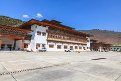 Paro, Bhutan - May 17, 2012 : The only international airport of Bhutan is Par Stock Photos