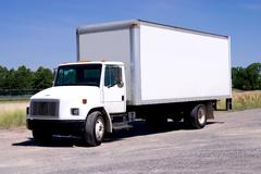 White Delivery Truck - stock photo