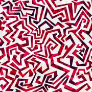 abstract red curves seamless pattern - stock illustration